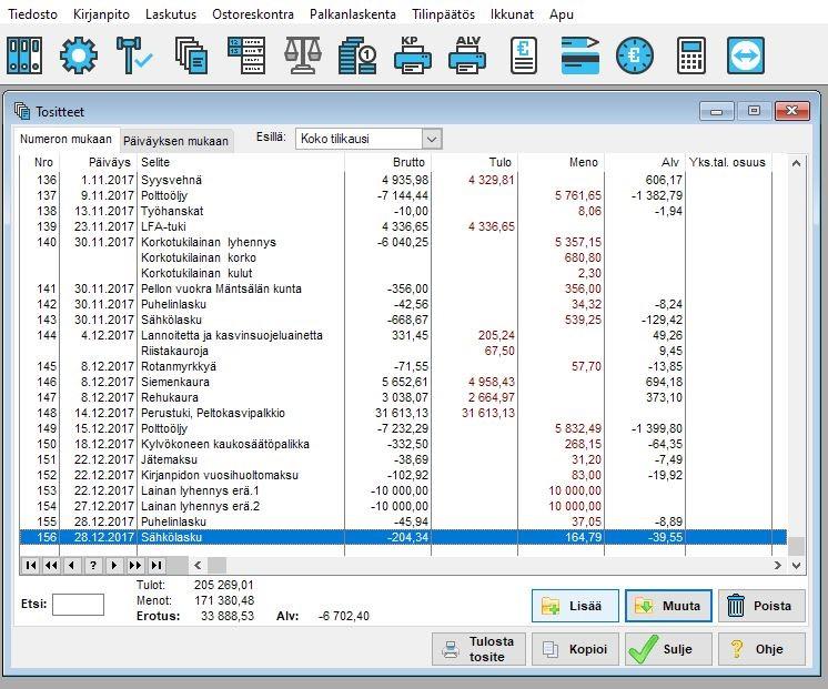 Tositteet-näkymä. Kuvassa tositteet-näkymä yhdenkertaisesta kirjanpidosta.