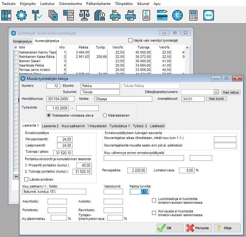 Työntekijän tiedot. Työntekijän tietoihin tallennetaan verokortin tiedot, pankkitili, osoite jne. Työtodistus1 ja työtodistus2 välilehdille voi tallentaa työtodistuksen tulostamiseen tarvittavat tiedot, myös arvolauseilla.